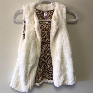 Faux White Fur Leopard Print Lined Vest Coat Girls